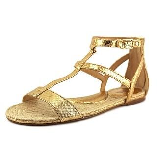Michael Michael Kors Bria Flat Sandal Women Leather Gold Gladiator Sandal
