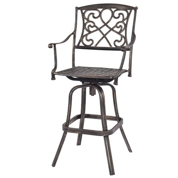 shop costway cast aluminum swivel bar stool patio furniture antique