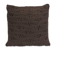 "16"" Decorative Cocoa Crochet Waves Cotton Throw Pillow - Brown"