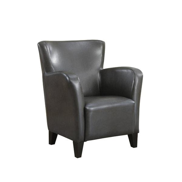 Attirant Monarch Specialties I 8077 35 Inch Tall Polyurethane Club Chair   Gray