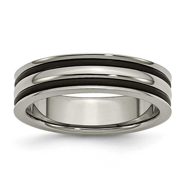 Titanium 6mm Grooved Black Rubber Polished Band
