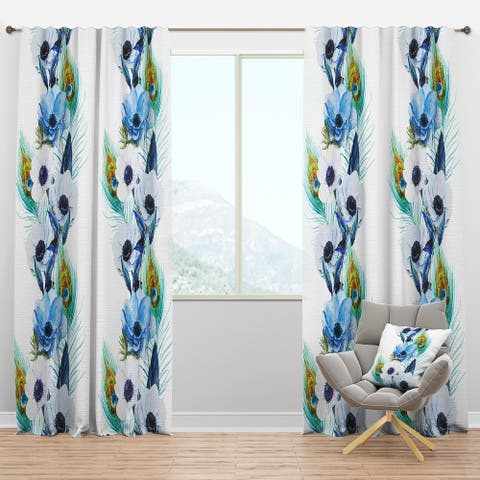 Designart 'Handpainted Anemones And Peacock Feathers' Floral Blackout Curtain Panel