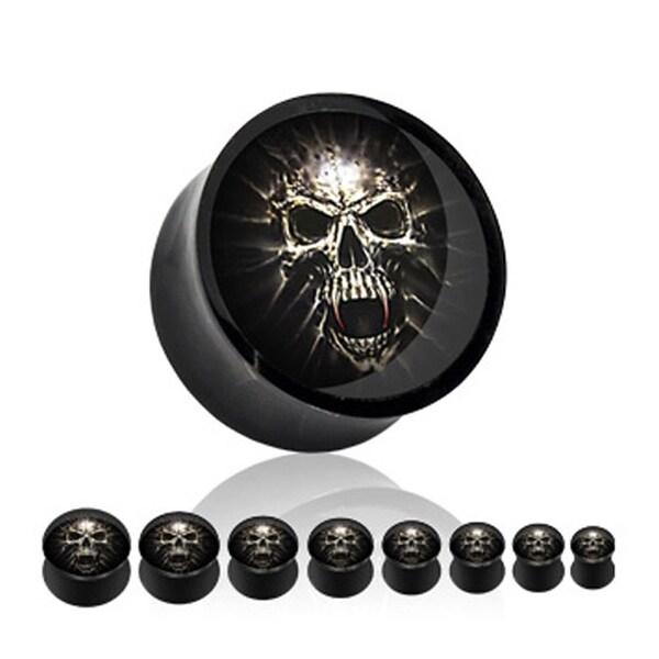 Black Acrylic Saddle Plug (Sold Individually) with Mummy Skull (Sold Individually)