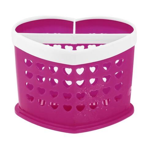 "Kitchen Plastic Heart Shape Chopsticks Spoon Fork Case Container - White - 6.6"" x 3.9"" x 4.1"" (L*W*T)"