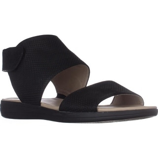 naturalizer Fae Flat Comfort Sandals, Black Leather
