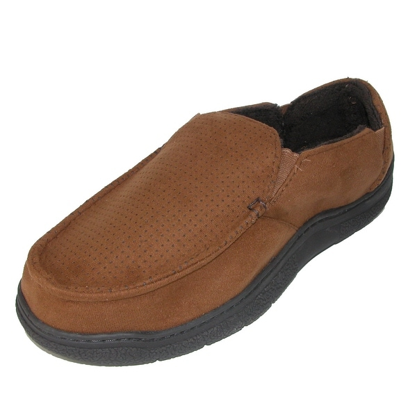 578042cce17e5 Dearfoams Men's Wide Width Microfiber Suede Closed Back Slipper with Memory  Foam