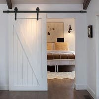 6 FT Black Modern Sliding Barn Wood Door Hardware Closet Set