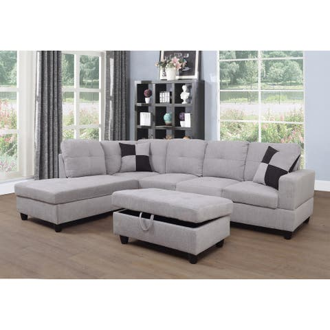 3-pc. Grey/White Flannelette Left-facing Sectional Sofa Set(121A)