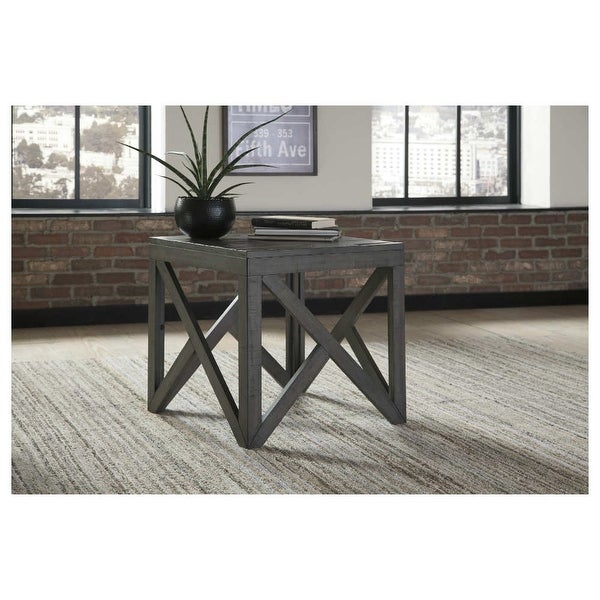 Haroflyn Square End Table Gray Haroflyn Square End Table