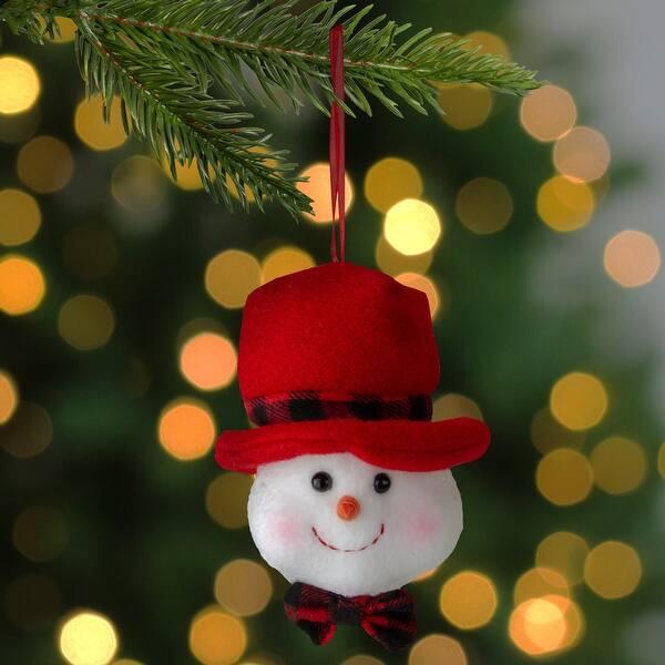 """Kurt Adler 4.5/"""" Snowman In Red Black Flannel Hat White Bow Christmas Ornament"""
