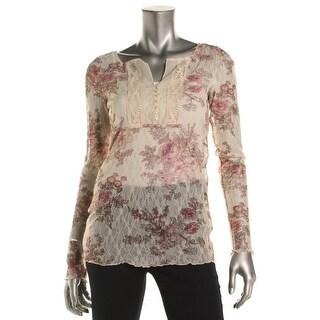 Denim & Supply Ralph Lauren Womens Pullover Top Floral Print Sheer