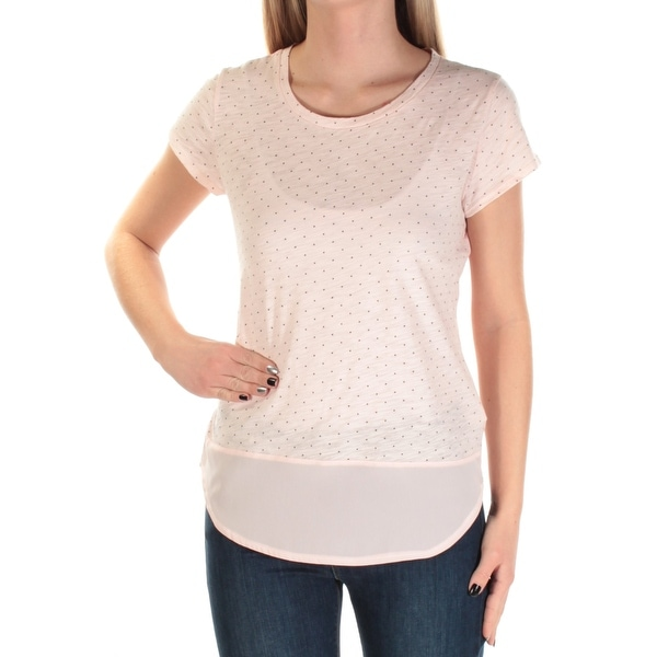 8a1ed8af Shop Womens Pink Black Polka Dot Short Sleeve Jewel Neck Top Size XS - Free  Shipping Today - Overstock - 21266929
