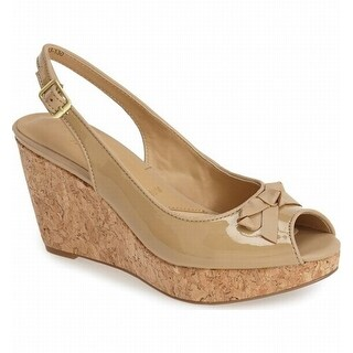 Trotters NEW Beige Womens Shoes Size 7N Allie Patent Wedge Sandal