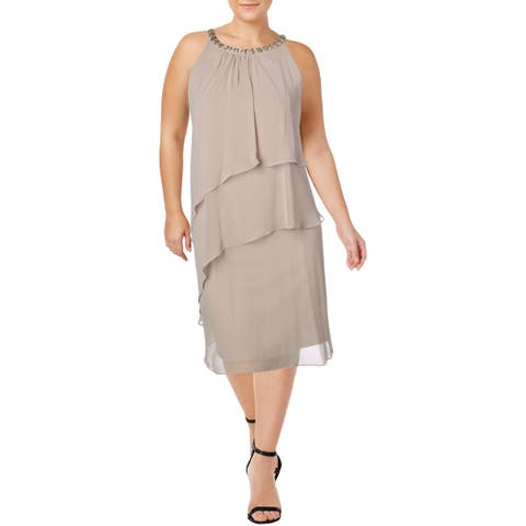 Jessica Howard Womens Plus Cocktail Dress Embellished Tiered - 24W