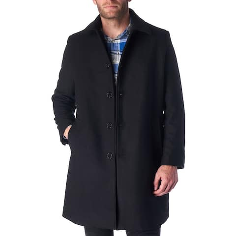 Hammer Anvil Orson Mens Wool Blend Single Breasted Walking Coat - Black
