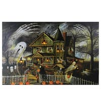 "Large LED Lighted Creepy Haunted House Halloween Canvas Wall Art 23.5"" x 15.5"""