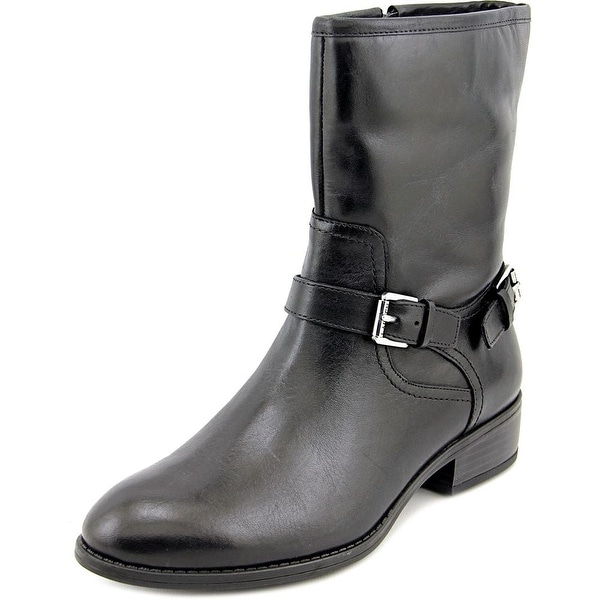 Lauren Ralph Lauren Mesi Women  Round Toe Leather Black Mid Calf Boot