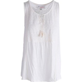 Two by Vince Camuto Womens Marrakesh Modal Blend Embroidered Tank Top - L