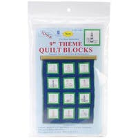 "Themed Stamped White Quilt Blocks 9""X9"" 12/Pkg-Lighthouses"
