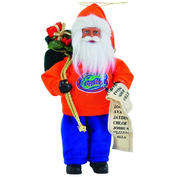 "9"" NCAA Florida Gators Santa Claus with Good List Christmas Ornament - ORANGE"