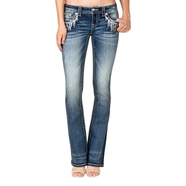 Miss Me Denim Jeans Womens Frayed Boot Cut Medium Wash JP7765B