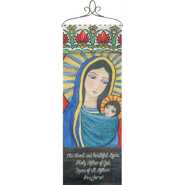 "36.5"" Blue and Yellow Saint Maria Printed Decorative Rectangular Wall Panel - N/A"