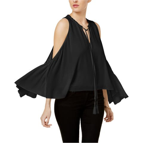 GUESS Womens Convertible Pullover Blouse, black, Large