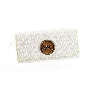 Michael Kors Ivory Vanilla PVC Fulton Signature Envelope Wallet