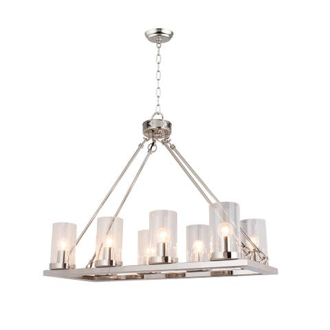 8 Light Candle Style Chandelier with Clear Glass Shade in Nickel