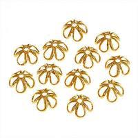 22K Gold Plated Open Petal Flower Bead Caps 7mm (12)