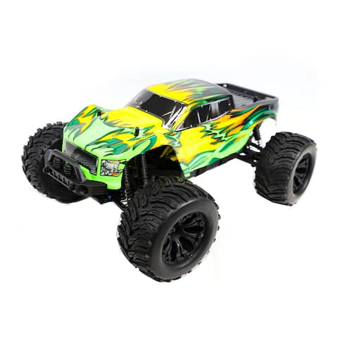 ALEKO XL Off-Road 4WD Electric 1:10 Scale RC Monster Truck Green/Yellow Flame Design - 18.6 x 12.7 x 7.5 inches