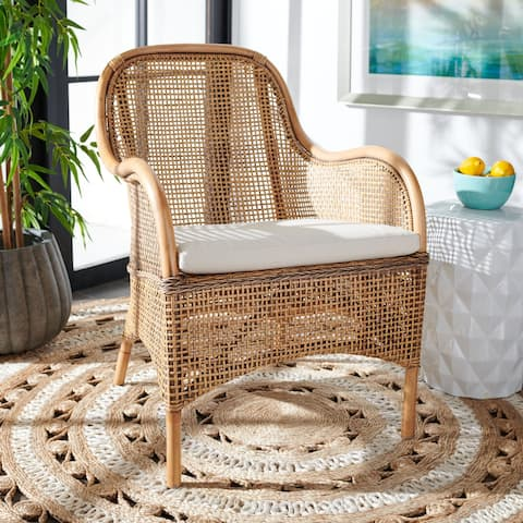 """SAFAVIEH Charlie Coastal Rattan Accent Chair with Cushion - 23.4"""" W x 24.8"""" L x 32.7"""" H"""