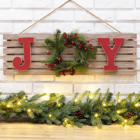"Glitzhome 30""L Wooden Christmas ""JOY"" Wall Decor"