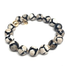 "Julieta Jewelry - 14k Gold Over Sterling Silver 10mm Black & White Agate, Gold Hematite 'Triple Station' 7"" Stretch Bracelet"