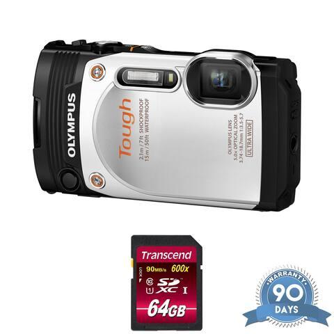 Olympus Stylus Tough TG-860 Digital Camera (White) - with Memory Card -