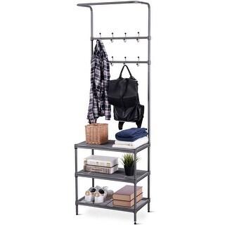 Costway Metal Entryway Coat Hat Shoes Rack 3 Tier Storage Shelf 16 Hooks Storage Rack