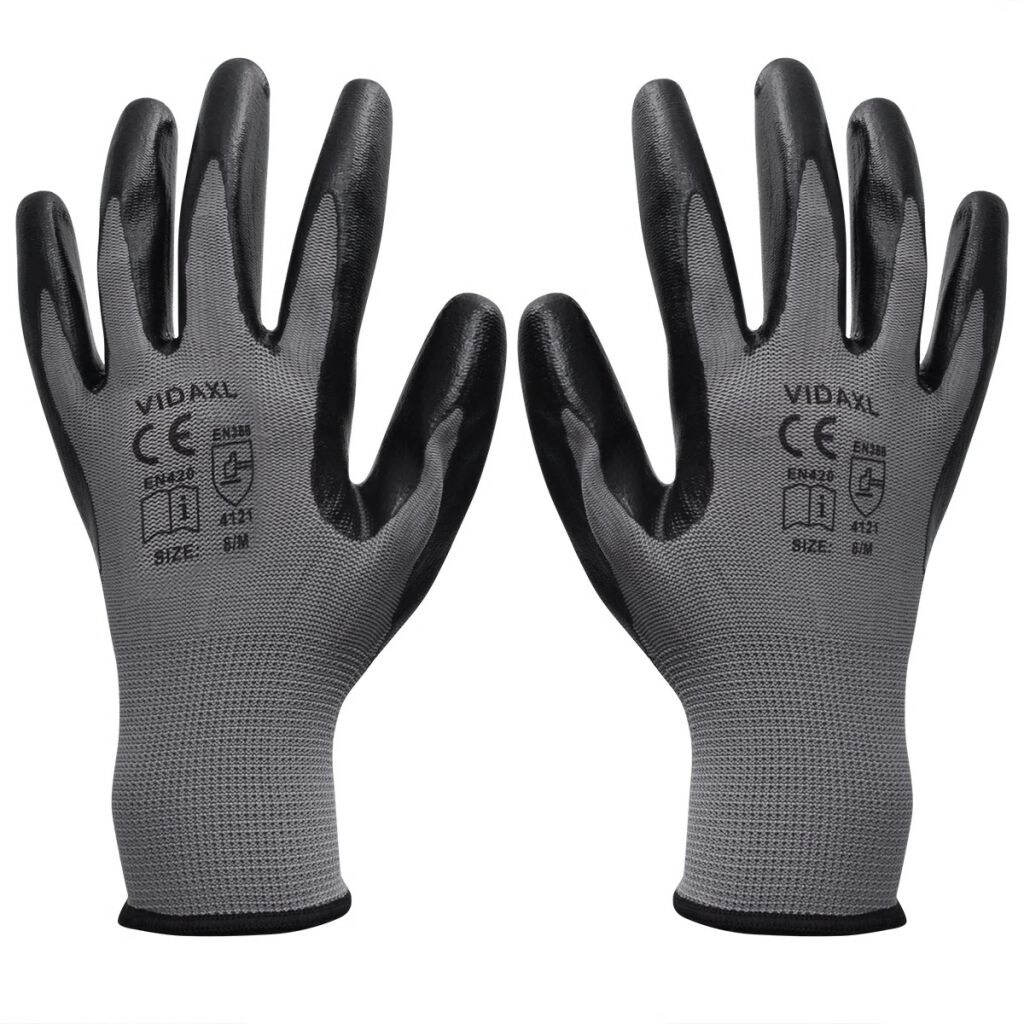 24 Pairs 100/% NITRILE COATED Red Black Nylon Work Gloves Builders Gardening Grip