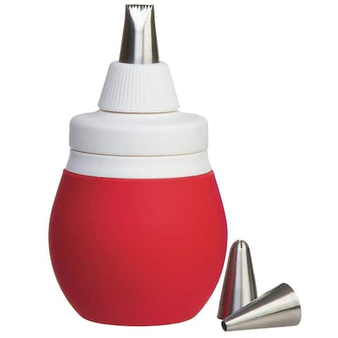 Prepworks by Progressive BWC-71 Silicone Decorating Bulb with 3 Piping Tips, Red