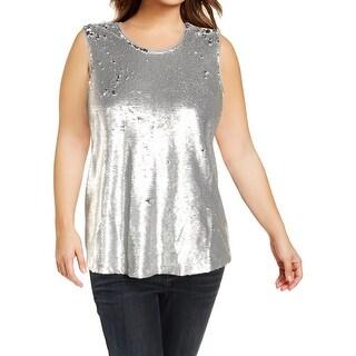Rachel Rachel Roy Womens Plus Dress Top Sequinned Sleeveless