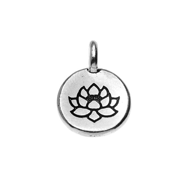 TierraCast Pewter, Round Lotus Flower Charm 16.5x11.5mm, 1 Piece, Antiqued Silver Plated. Opens flyout.