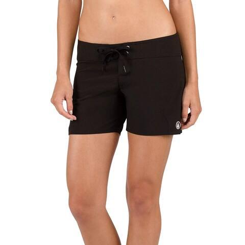 Volcom Women's Simply Solid 5 Inch Boardshort, Black, 13, Black, Size 13.0 - 13