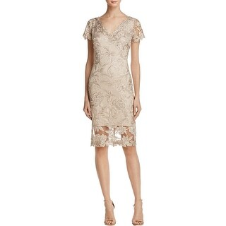 Tadashi Shoji Womens Cocktail Dress Metallic Embroidered