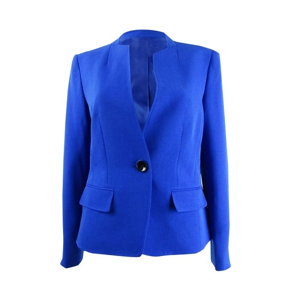 Kasper Women's Stand-Collar One-Button Blazer - Sapphire. Opens flyout.