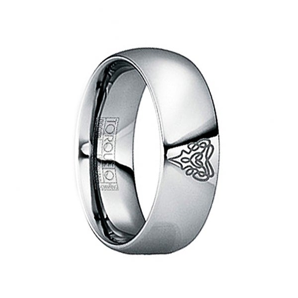 GNAEUS Tungsten Wedding Ring with Unique Engraved Logo by Crown Ring