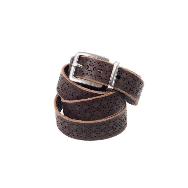 Brunello Cucinelli Brown Brushed Leather Cut-Out Belt