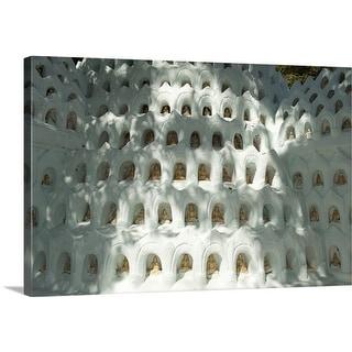 Premium Thick-Wrap Canvas entitled Small Buddha statues in small niches, U Bein bridge, Mandalay, Myanmar