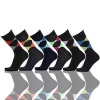 Argyle & Diamonds Mens Cotton Crew Dress Socks(Size 10-13) 6 Assorted Pairs