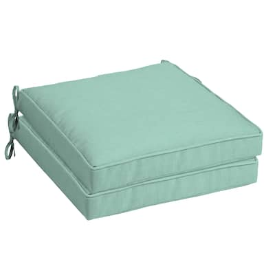 Arden Selections Aqua Leala Texture Outdoor Seat Cushion 2-Pack - 21 in L x 21 in W x 5 in H