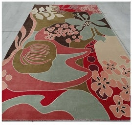 9.6x13.6 Feet Red Blue Brown Pink Huge Over sized Floral Wool Carpet Rug Modern Contemporary