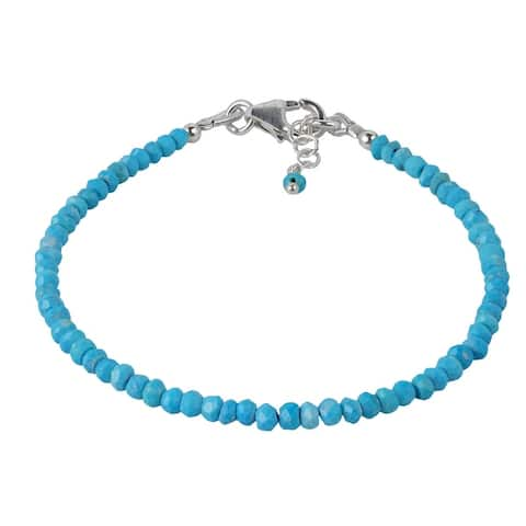 Handmade Natural Stones Lucky Color Stone Sterling Silver Bracelet (Thailand)